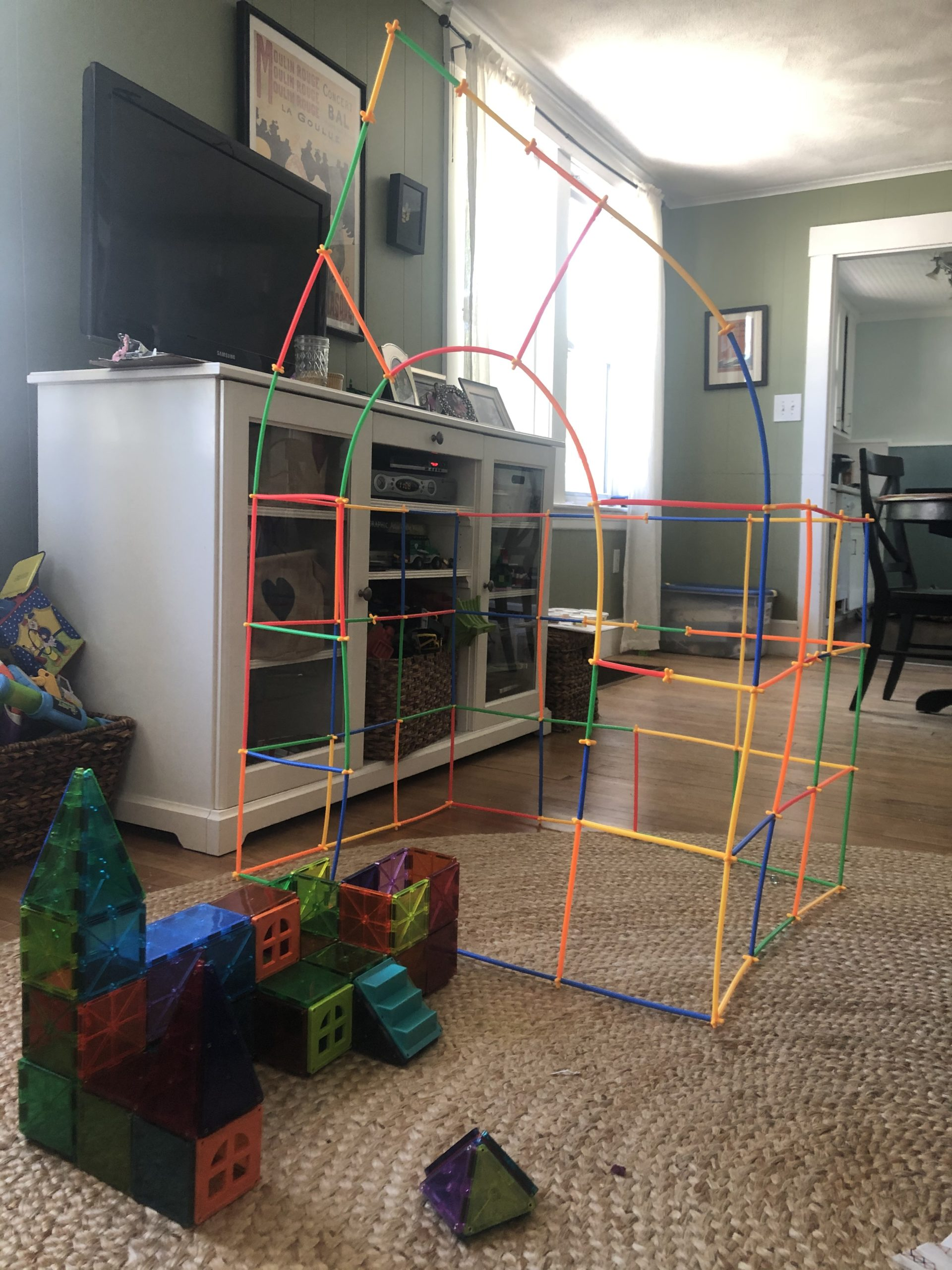 Buildings with Straws and Magnatiles